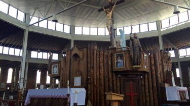 Kesedihan Sebelum Kuil Nasional Lady of Martyrs Roma di Auriesville di Amerika New York Dibangun